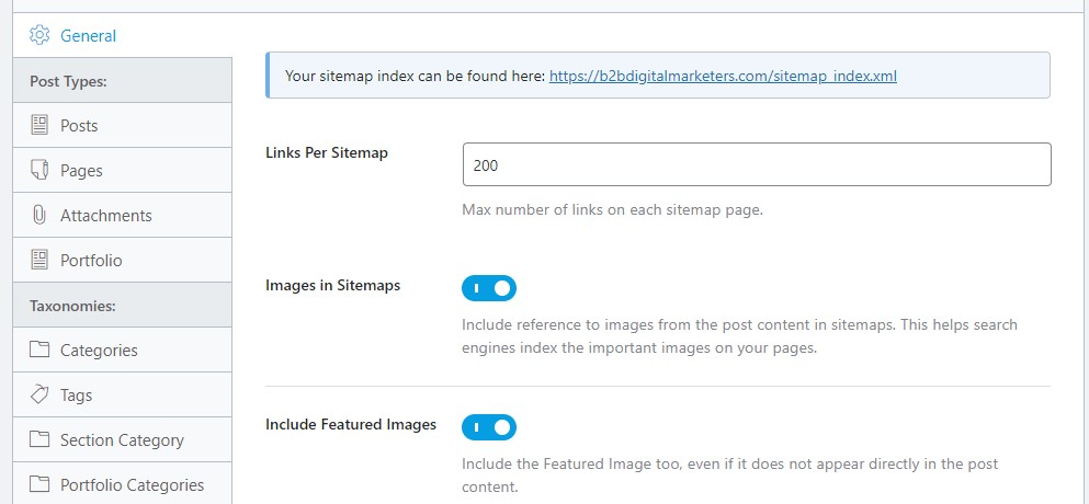 rank math setting for sitemap for technical seo