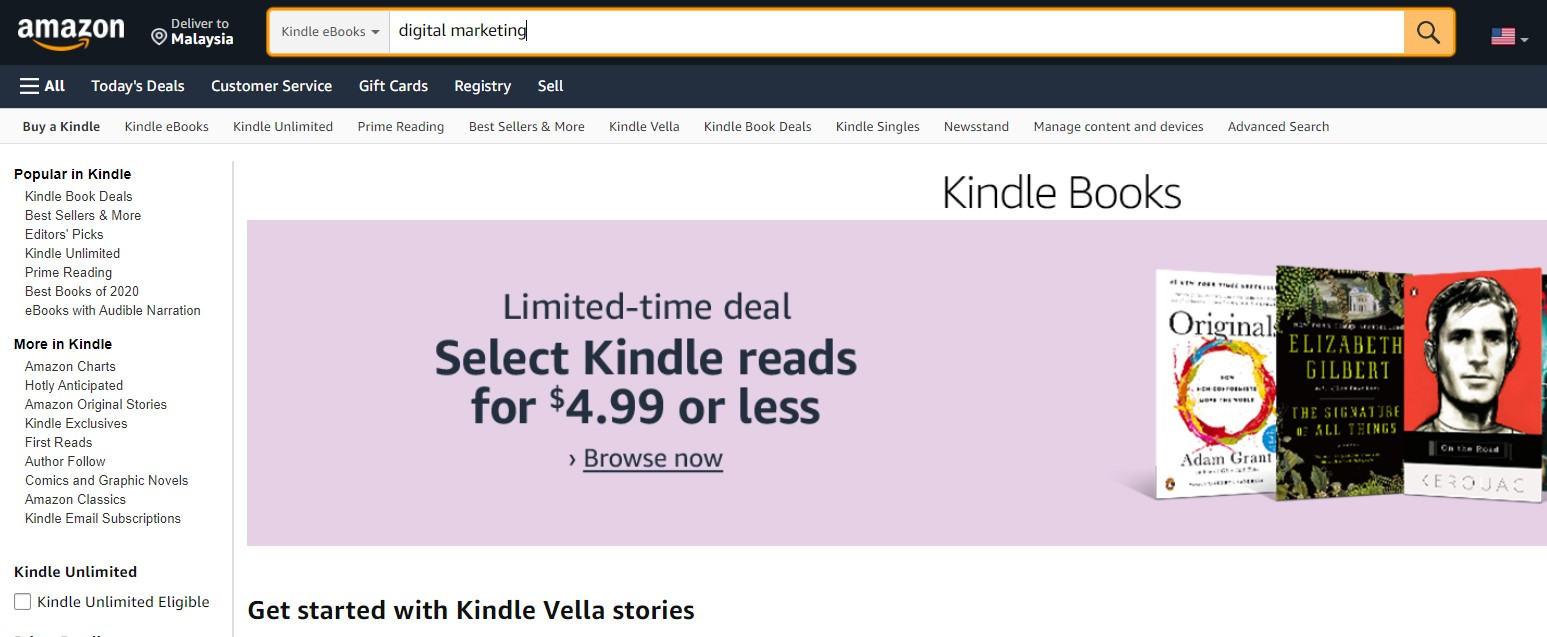 searching for seo keywords using amazon kindle store