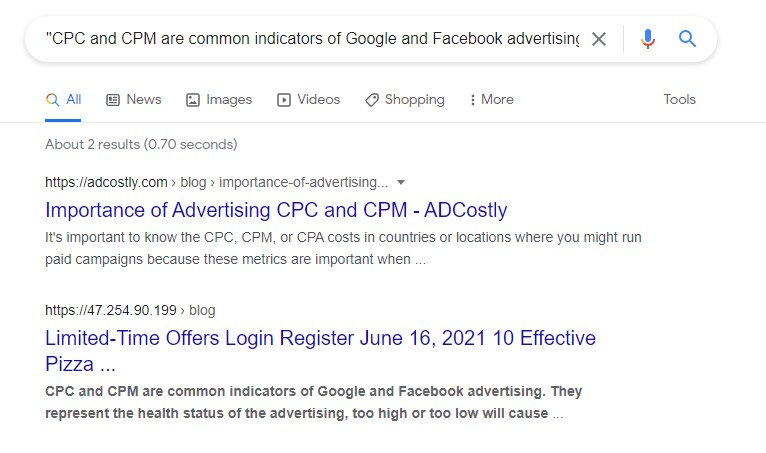 showing search result for duplicated content and original author ranking first
