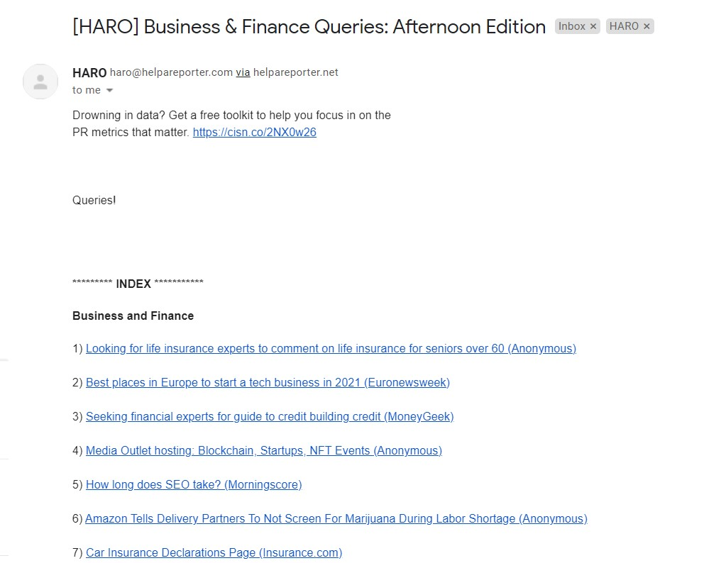 HARO enquiries example for link building white hat SEO