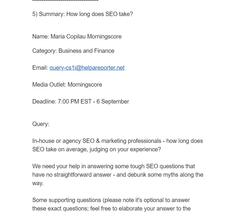 HARO enquiry from journalist for link building