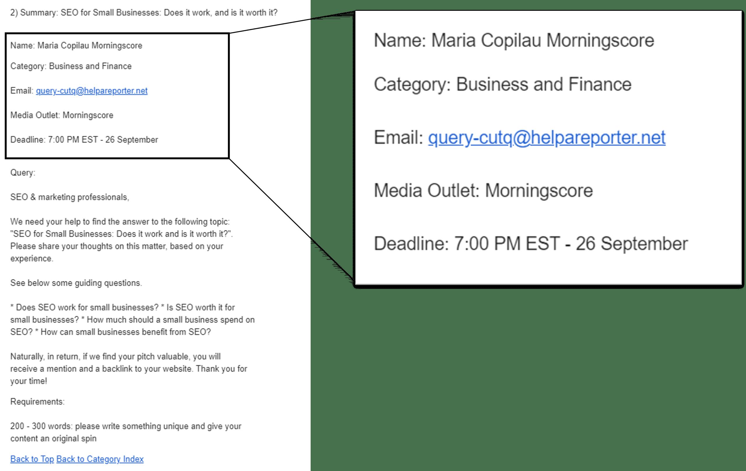 HARO query information deadline