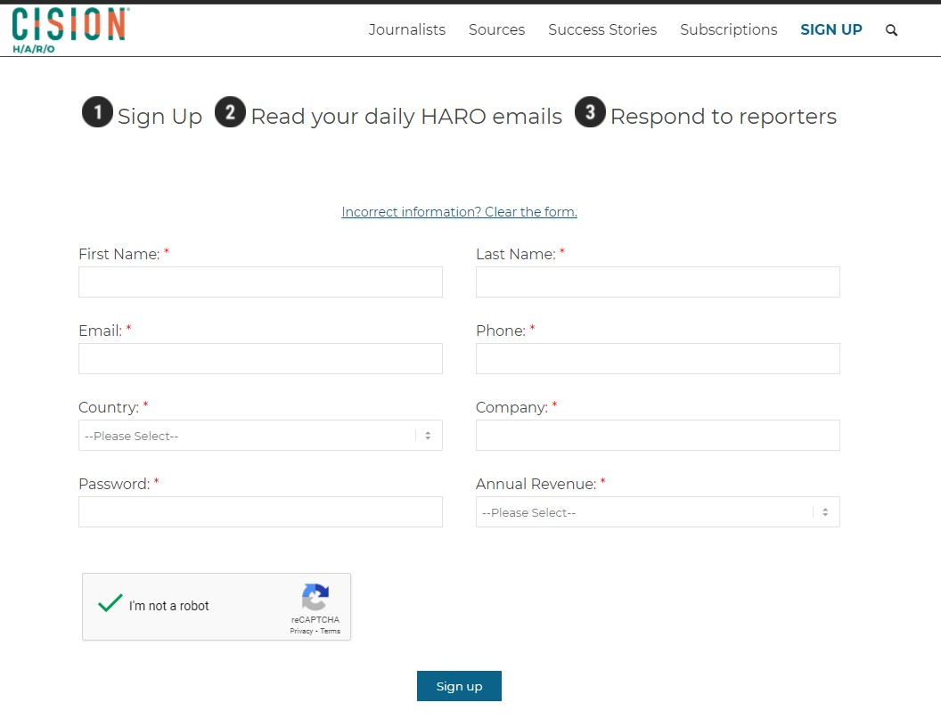 HARO signup form to become a source for journalist