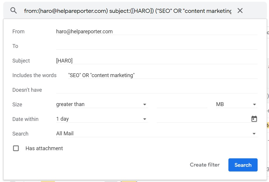 adding more keywords to gmail filter for HARO link building