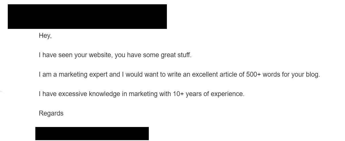 bad email outreach for guest blogging