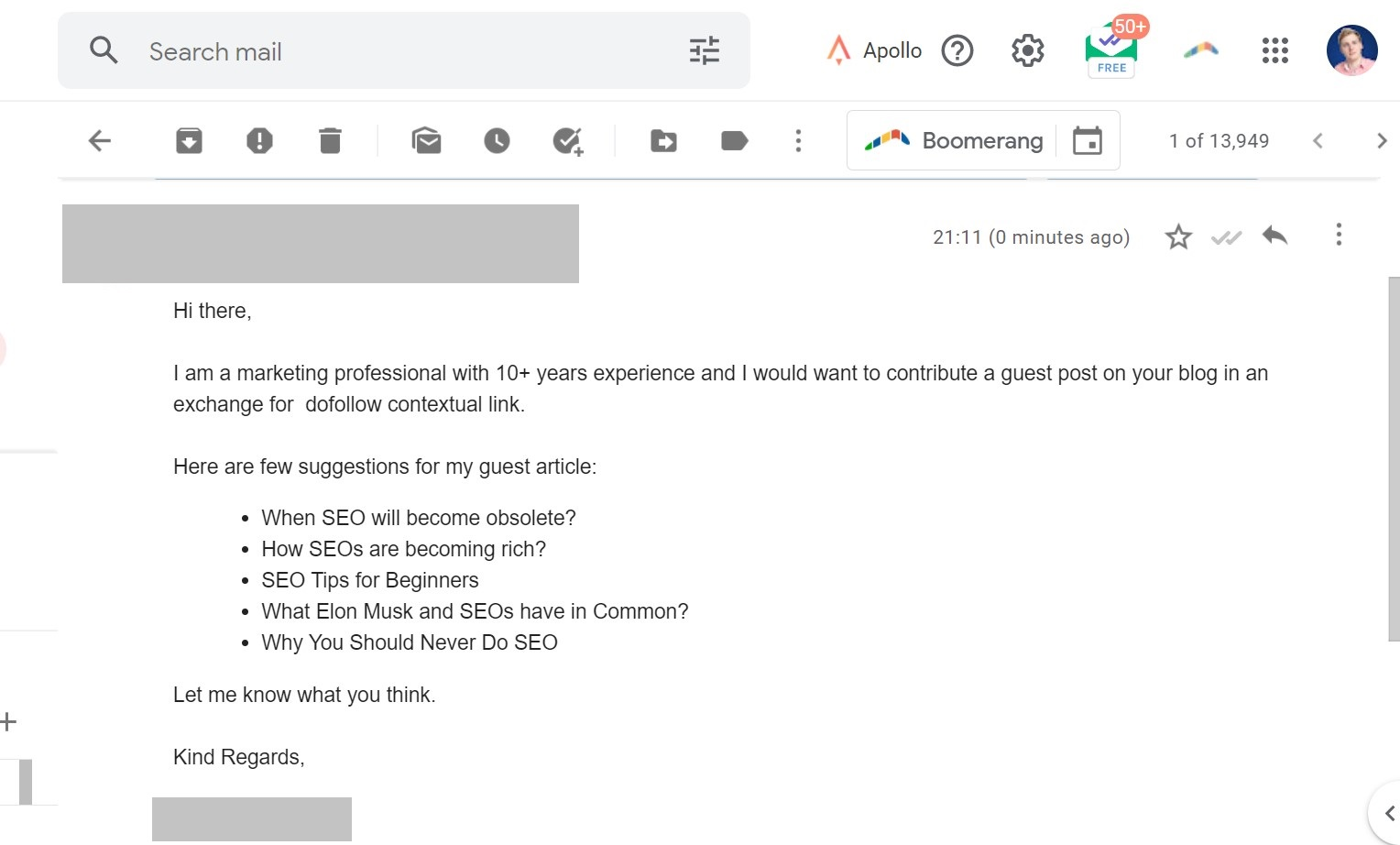 bad email outreach for guest posting example