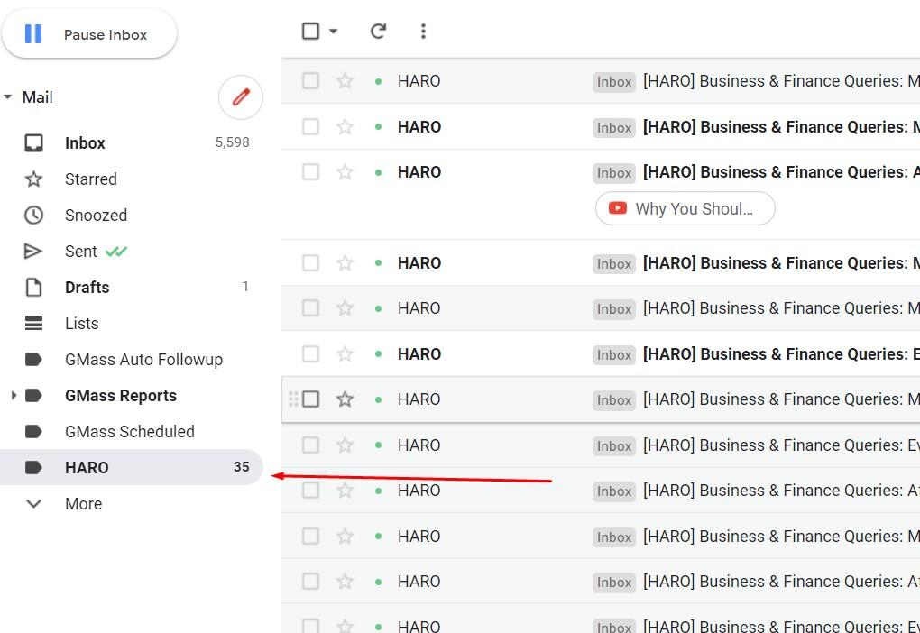 designated folder for HARO gmail filter