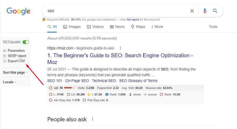 export google search results using SEOquake
