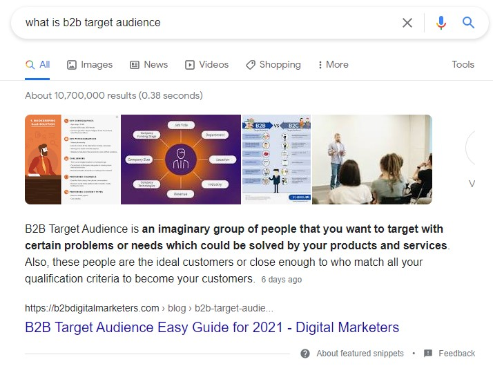 featured snippet paragraph box