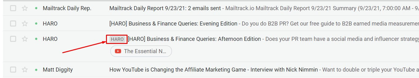 gmail highlighted HARO query containing your keyword