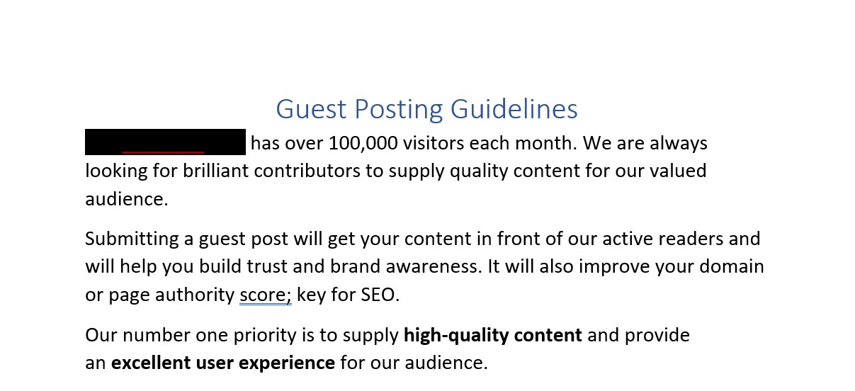 guest posting guidelines in the word document