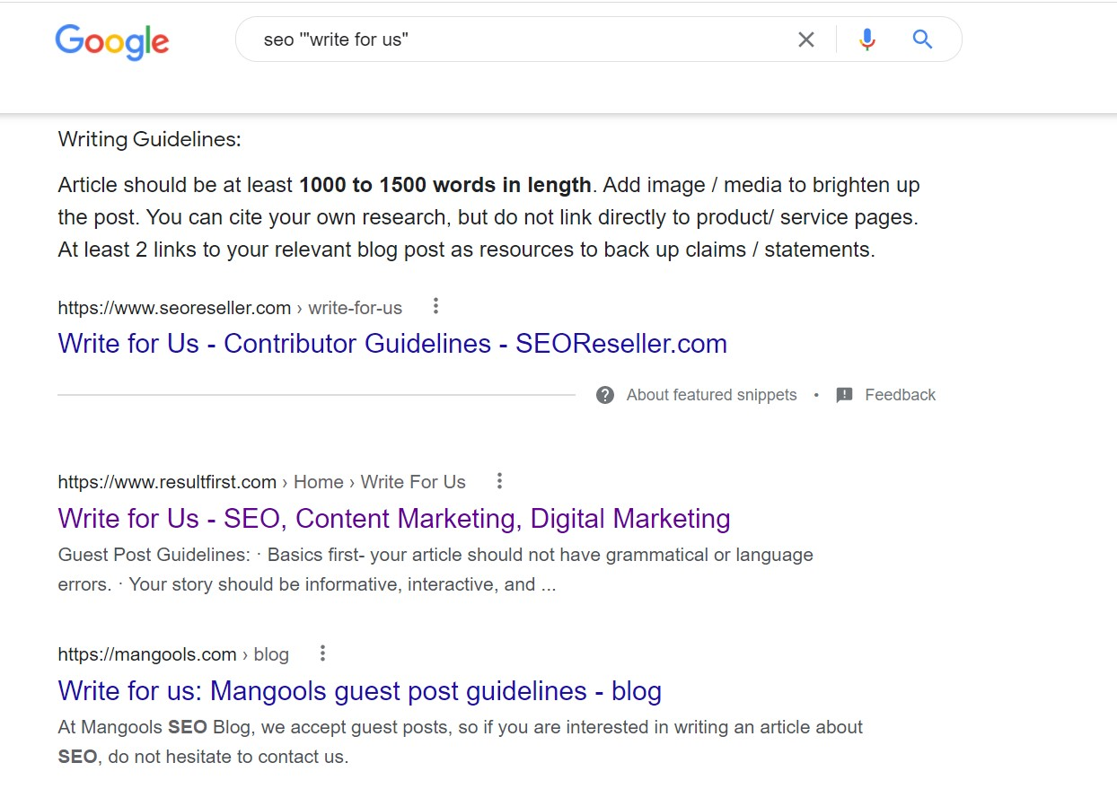 guest posting guideliness public using google search string