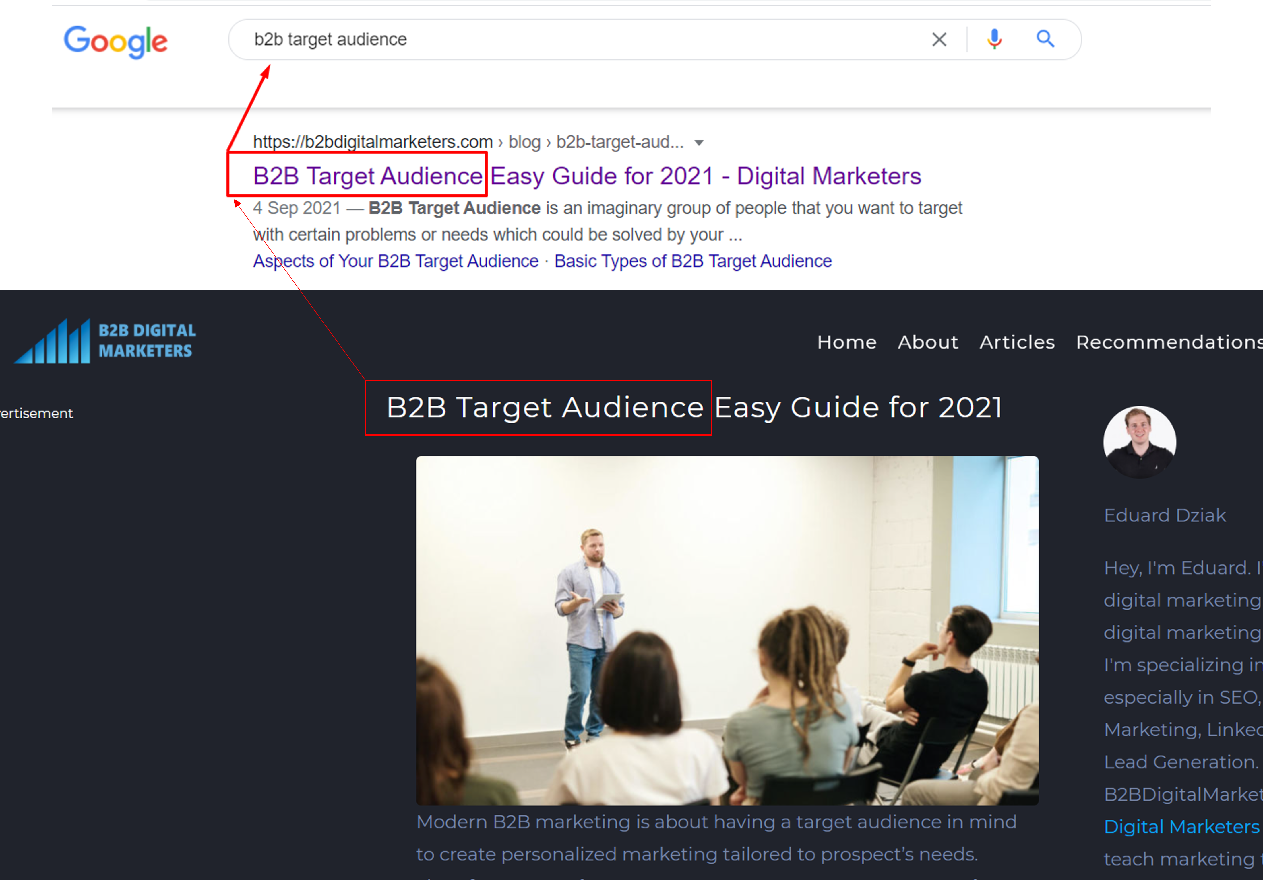 including primary keyword in title and title tag blog seo practice