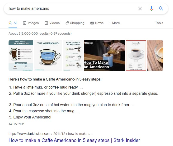 list featured snippet for blog seo