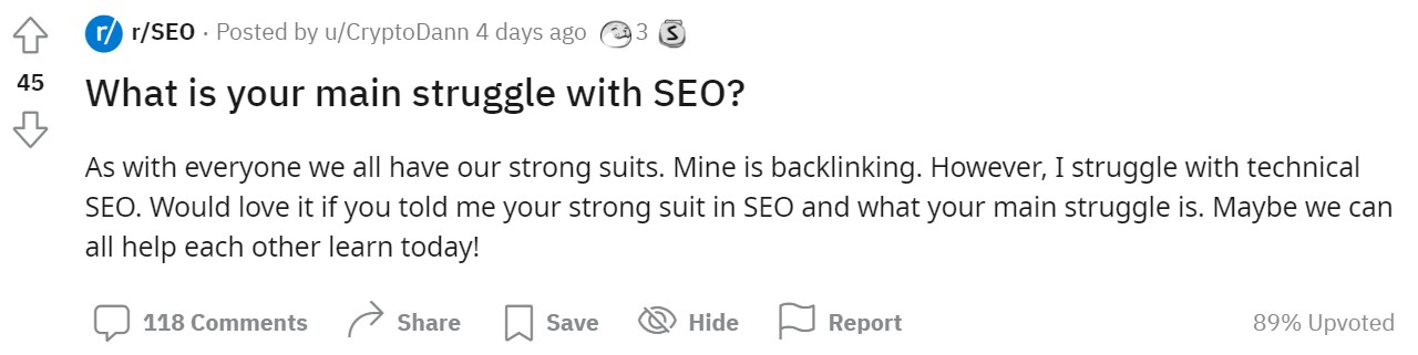 main struggle with SEO is link building