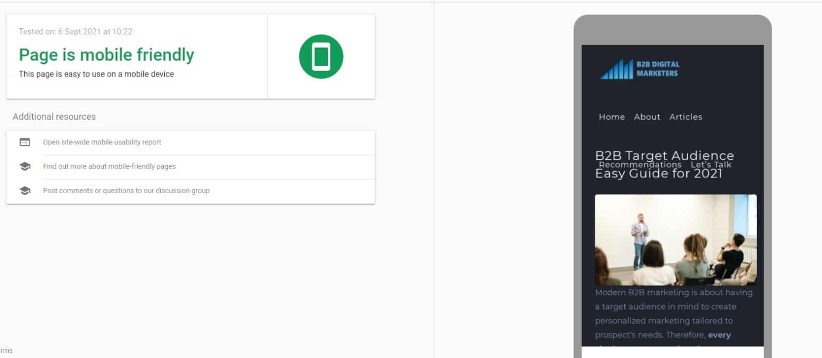mobile friendly page google mobiel-friendly test report