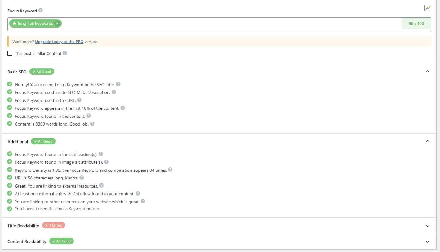 seo checklist in seo plugin for blog post