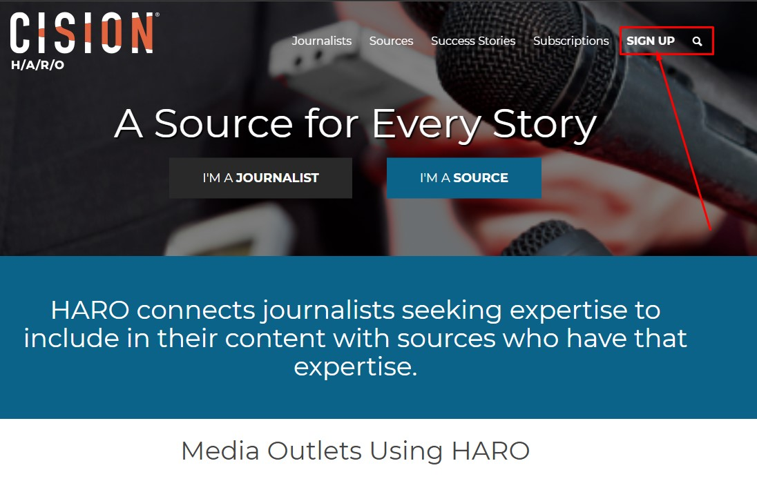 signup to haro to start with link building