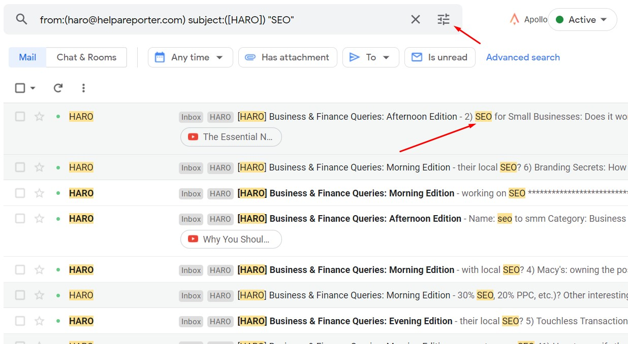 testing gmail filter for HARO link building