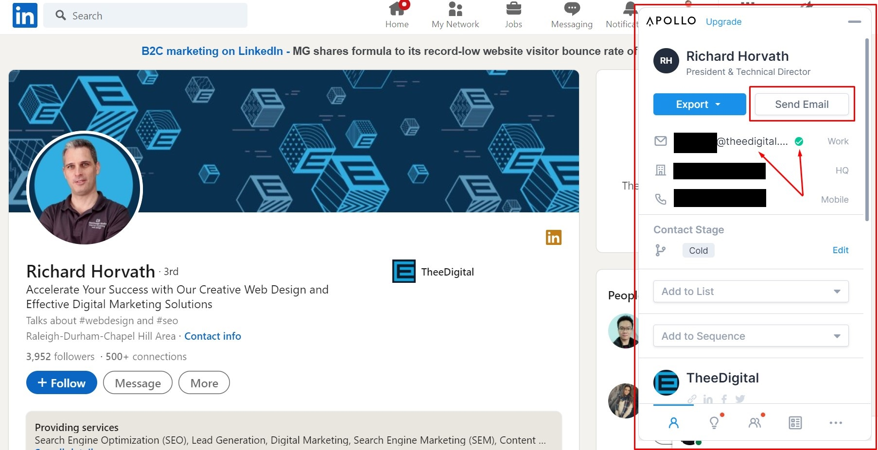 apollo.io gives information from linkedin profile even email address