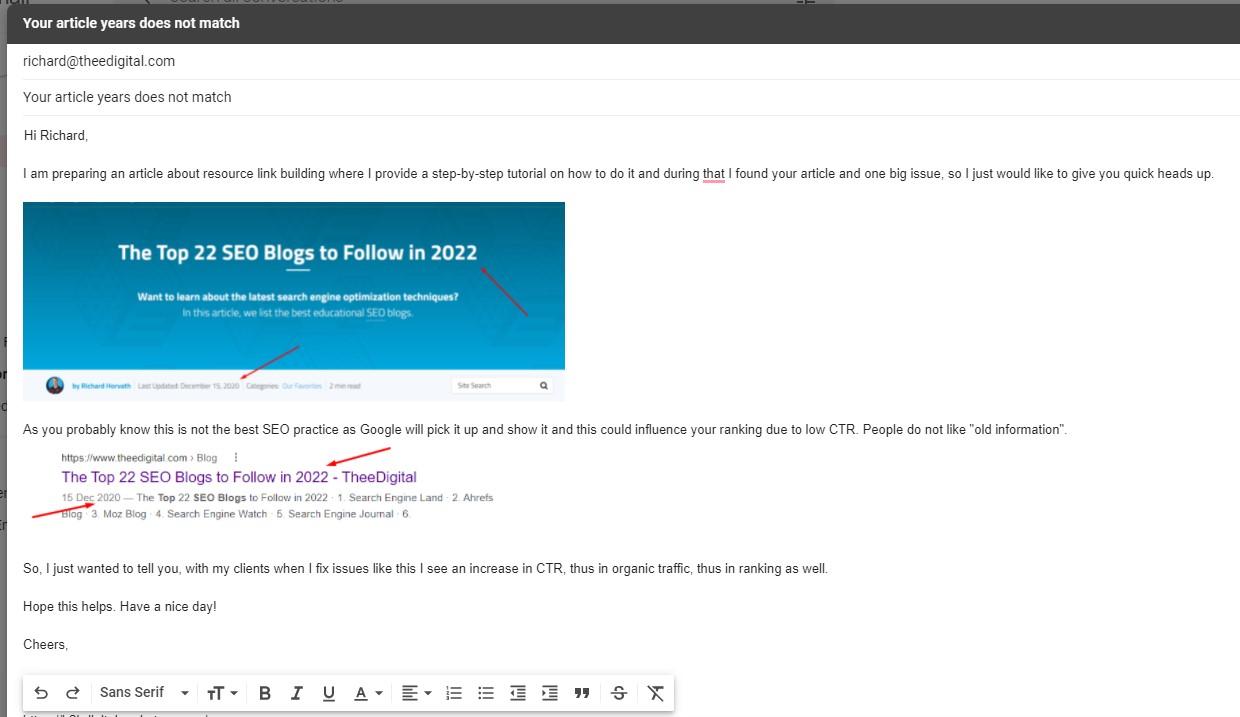 email warm up for resource link building