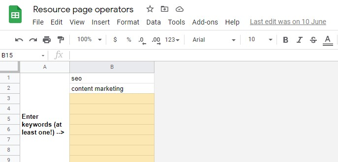 resource page operators spreadsheet for resource page link building