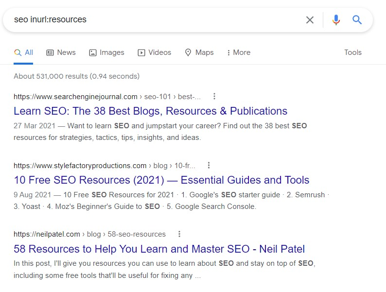 use google strings for resource link building